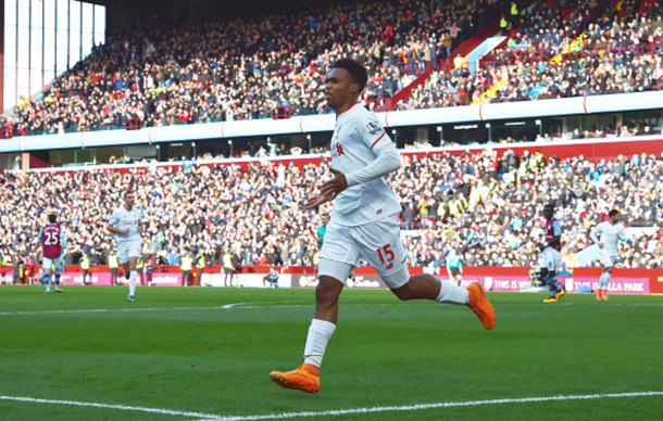 Sturridge wheels away in jubilation after opening the scoring at Villa Park. (Picture: Getty Images)