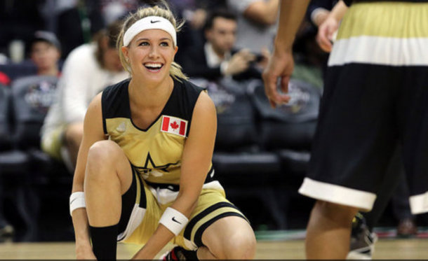 Bouchard at the Celebrity All-Star Game. Vaughn Ridley/Getty Images