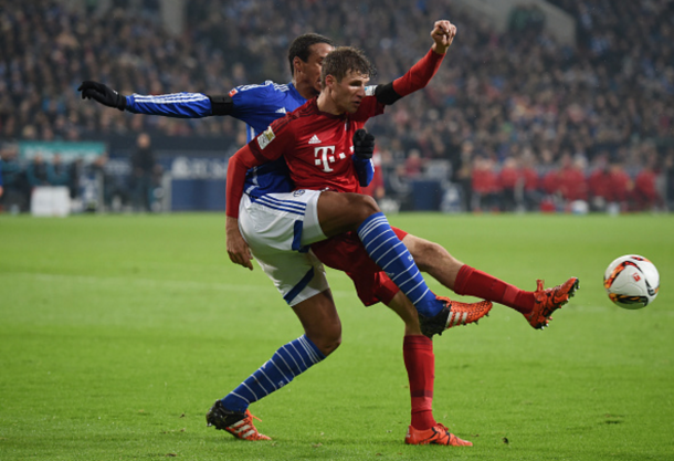 Matip battles with Bayern Munich's Thomas Muller. (Picture: Getty Images)