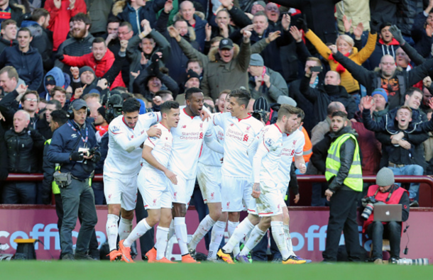 Origi and his teammates with the away fans after making it 4-0 on Sunday. (Picture: Getty Images)