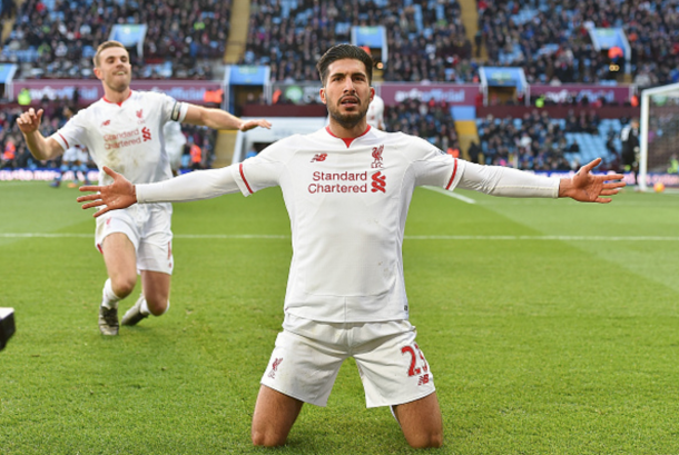 Can celebrates the goal that put Liverpool 3-0 up against Villa, with captain Jordan Henderson in the background. (Picture: Getty Images)