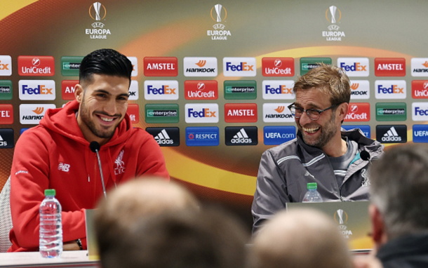 Can and his manager, Jürgen Klopp, share smiles in the pre-match press conference. (Picture: Getty Images)