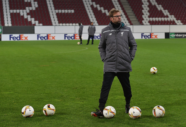 Klopp takes Liverpool's first-team training at the WWK Arena on Wednesday. (Picture: Getty Images)