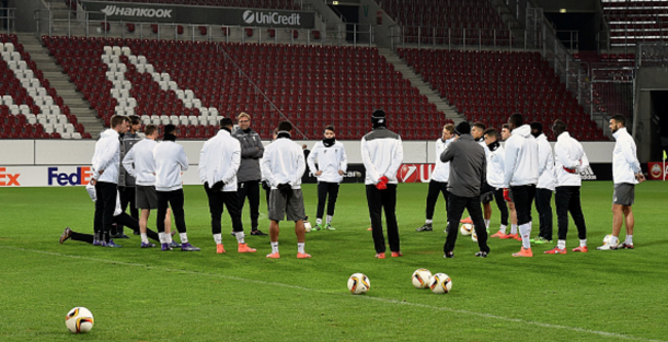 Klopp taking training with his Liverpool players at Augsburg's stadium. (Picture: Getty Images)