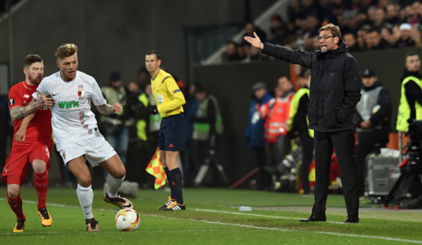 Klopp angrily barks instructions at his players at the WWK Arena. (Picture: Getty Images)