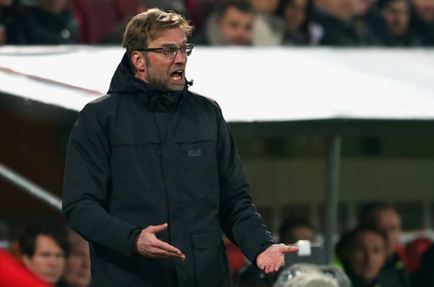 Klopp often looked frustrated with his side's first-half display on the touchline. (Picture: Getty Images)