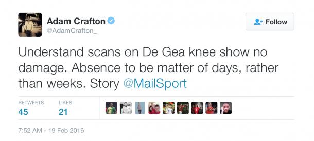 Adam Crafton reporting on David de Gea. @AdamCrafton_