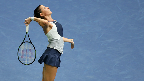 Flavia Pennetta serving during the US Open Final. Source:Getty Images/Jean Catuffe