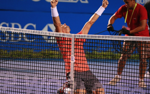 David Ferrer of Spain celebrates a scored goal against Kei Nishikori of Japan, in men's single match within Telcel Mexican Open 2015 at Mextenis Stadium on February 28, 2015 in Acapulco, Mexico. (Photo by Francisco Estrada/Anadolu Agency/Getty Images)
