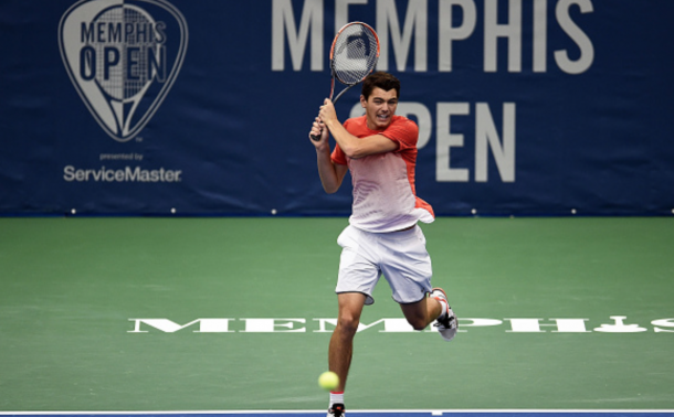 Taylor Fritz of the United States returns a shot to Ricardas Berankis of Lithuania during their semi-final singles match on Day 6 of the Memphis Open at the Racquet Club of Memphis on February 13, 2016 in Memphis, Tennessee. (Photo by Stacy Revere/Getty Images)