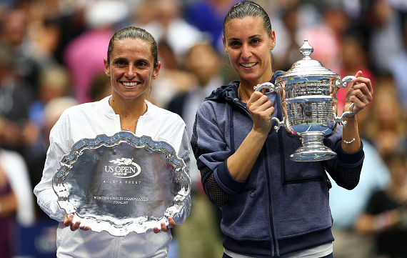 Roberta Vinci and Flavia Pennetta with their trophies at the US Open. Source:Getty Images/Clive Brunskill