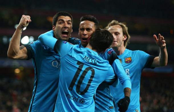 Suárez, Neymar and Rakitić celebrate Messi's opener in North London. (Picture: Getty Images)