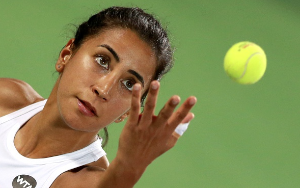Cagla Buyukackay serving during the match. Souce:Getty Images/Anadolu Agency