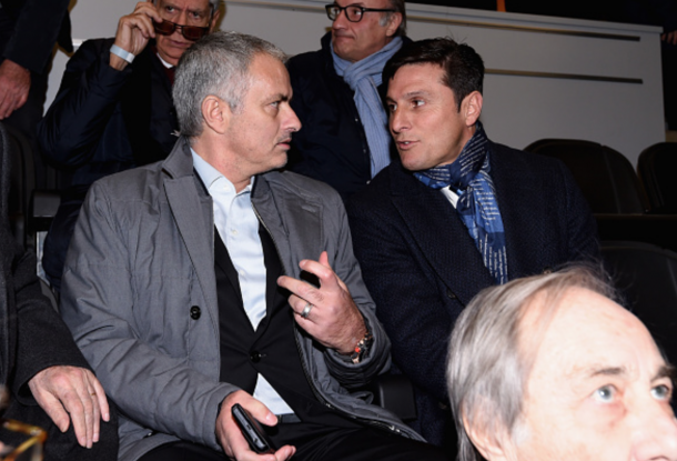 Mourinho and Zanetti speak at Inter Milan's game against Sampdoria (Getty)