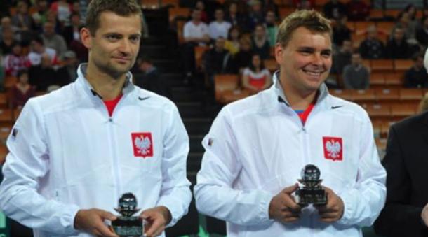 "Matkowski (right) with the other half of the ""Polish Power,"" former partner Mariusz Fyrstenberg. Photo: Davis Cup"