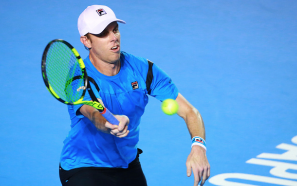Sam Querrey of USA returns the ball during a singles match between Taylor Fritz of USA and Sam Querrery of USA as part of Telcel ATP Mexican Open 2016 at Mextenis Stadium on February 25, 2016 in Acapulco, Mexico. (Photo by Hector Vivas/LatinContent/Getty Images)