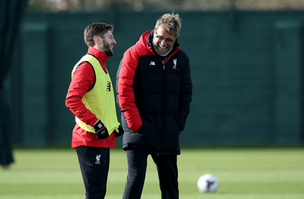 Klopp enjoys a laugh with Adam Lallana, who returned to first-team training on Friday. (Picture: Getty Images)
