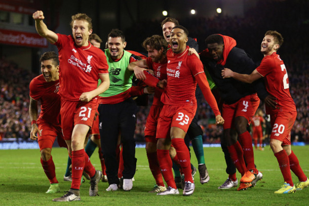 Liverpool celebrate after Joe Allen's penalty secured their place in the final. (Picture: Getty Images)