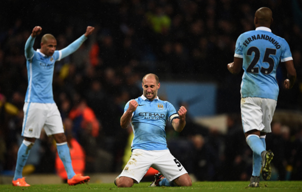 Pablo Zabaleta celebrating after City secured passage to Sunday's Wembley final last month. (Picture: Getty Images)