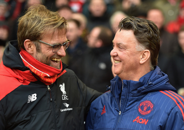 Klopp shares a joke with Van Gaal in the Reds' 1-0 loss to United at Anfield last month. (Picture: Getty Images)