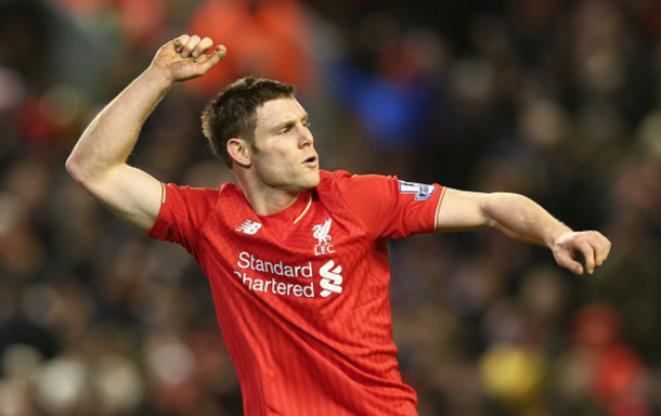 Milner celebrates the goal which made it 2-0 to Liverpool. (Picture: Getty Images)