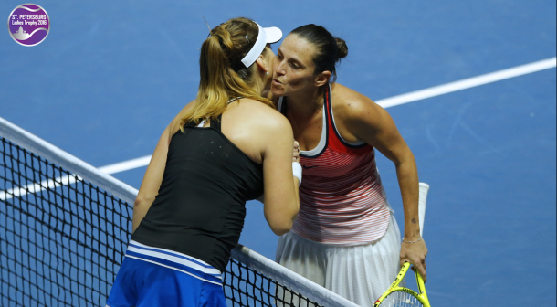Roberta Vinci and Belinda Bencic at the net after their final. Photo: St. Petersburg Ladies Trophy
