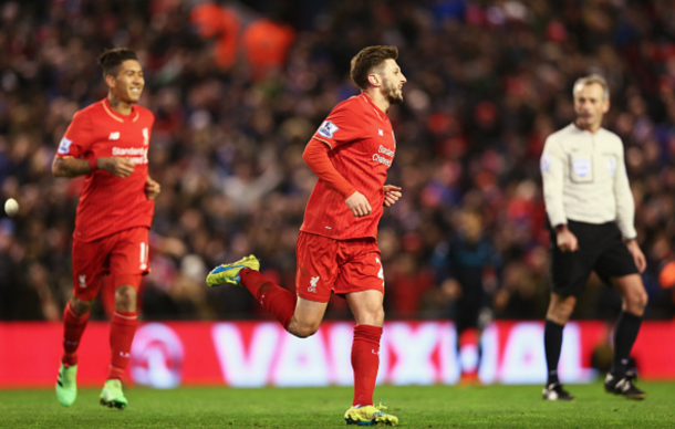 Lallana celebrates putting Liverpool ahead. (Picture: Getty Images)