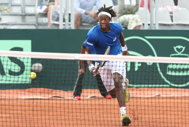 Gael Monfils of France in action against Frank Dancevic of Canada during day 1 of the Davis Cup World Group first round tie between France and Canada at Stade Velodrome Amedee Detraux on March 4, 2016 in Baie-Mahault, Guadeloupe, France. (Photo by Jean Catuffe/Getty Images)
