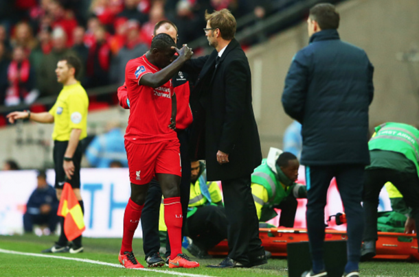 Sakho was frustrated after being substituted as a precaution in the cup final. (Picture: Getty Images)