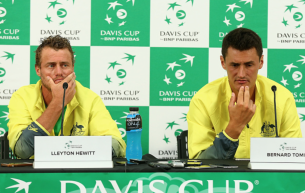 Lleyton Hewitt captain of Australia and Bernard Tomic of Australia speak to media after the Men's singles match during the Davis Cup tie between Australia and the United States at Kooyong on March 6, 2016 in Melbourne, Australia. (Photo by Robert Prezioso/Getty Images)