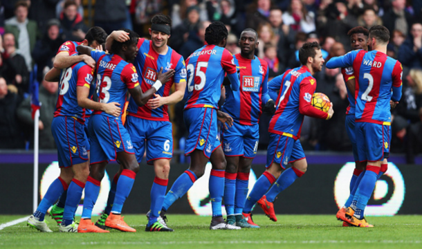 Ledley puts Palace ahead. (Picture: Getty Images)