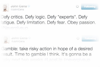 John Cena's 'cryptic' messages on his Twitter page (image: Twitter/Joellampkin)