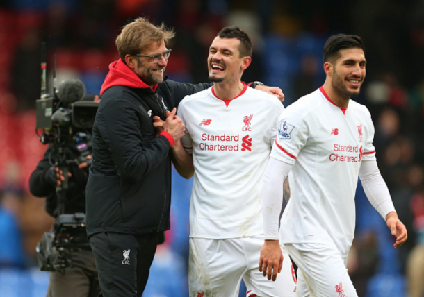 Klopp smiles with Man of the Match Dejan Lovren after the full-time whistle. (Picture: Getty Images)