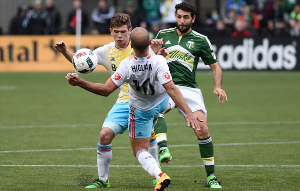 Will Trapp #20 and Federico Higuain #10 of Columbus Crew go after a ball with Diego Valeri of Portland looking to defend. (Photo credit: Steve Dykes, Getty Images).