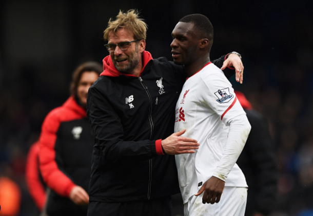 Benteke with a jubilant Klopp after the full-time whistle at Palace. (Picture: Getty Images)