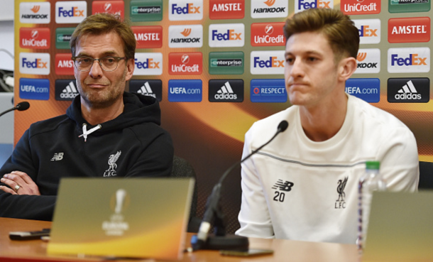 Klopp, alongside Adam Lallana, during Wednesday's pre-match press conference. (Picture: Getty Images)