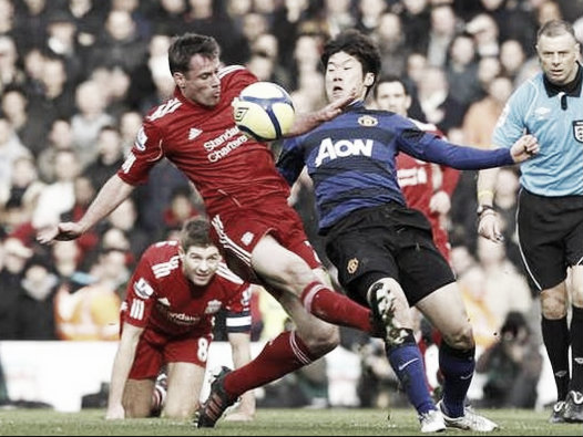 Carragher featured in 32 matches against Manchester United (image: Liverpool Echo)