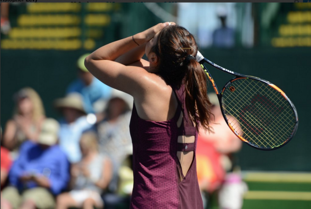Margarita Gasparyan showing emotion after losing a point. Photo:Christopher Levy