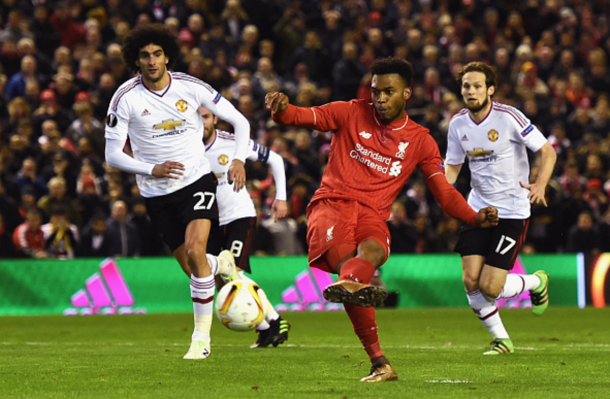 Sturridge tucks away his penalty in the first-leg. (Picture: Getty Images)