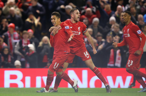 Henderson celebrates with Firmino after his terrific strike in a recent league draw with Arsenal. (Picture: Getty Images)