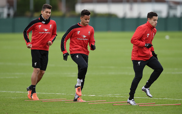 Allan with fellow Brazilians Roberto Firmino and Philippe Coutinho in Liverpool training. (Picture: Getty Images)