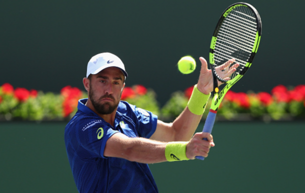Steve Johnson of USA in action against Kei Nishikori of Japan during day nine of the BNP Paribas Open at Indian Wells Tennis Garden on March 15, 2016 in Indian Wells, California. (Photo by Julian Finney/Getty Images)