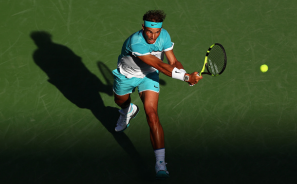 Rafael Nadal of Spain in action against Fernando Verdasco of Spain during day nine of the BNP Paribas Open at Indian Wells Tennis Garden on March 15, 2016 in Indian Wells, California. (Photo by Julian Finney/Getty Images)
