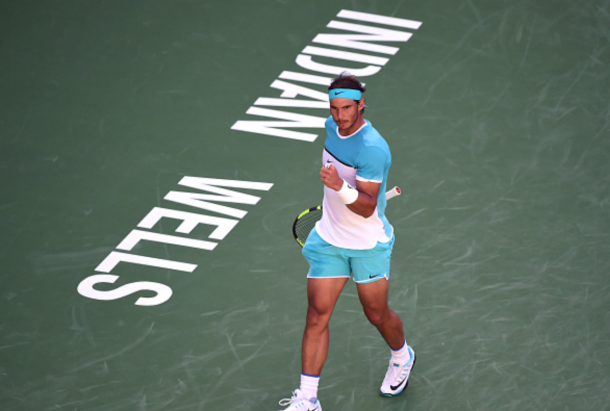 Rafael Nadal of Spain celebrates a point during his match against Alexander Zverev of Germany at Indian Wells Tennis Garden on March 16, 2016 in Indian Wells, California. (Photo by Harry How/Getty Images)