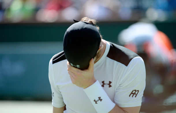 Andy Murray of Great Britain reacts after losing a game against Federico Delbonis of Argentina during day eight of the BNP Paribas Open at Indian Wells Tennis Garden on March 14, 2016 in Indian Wells, California. (Photo by Kevork Djansezian/Getty Images)