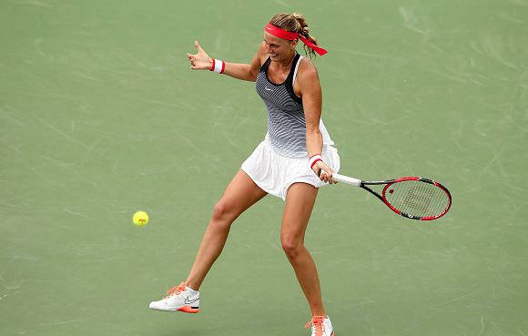 Petra nailing a forehand during the match. Photo:Getty Images/Matthew Stockman