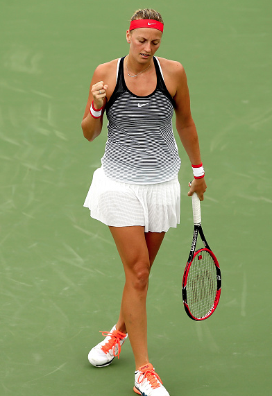 Kvitova first pumping after winning a point. Photo:Getty Images/Matthew Stockman