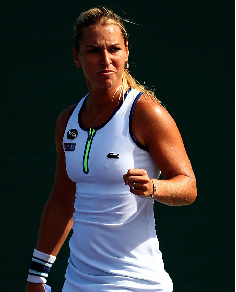 Cibulkova celebrates after taking the first set | Getty Images Sport, Mike Ehrmann