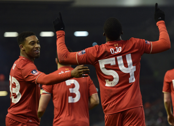 Ojo celebrates his first ever goal for Liverpool's first-team against Exeter. (Picture: Getty Images)