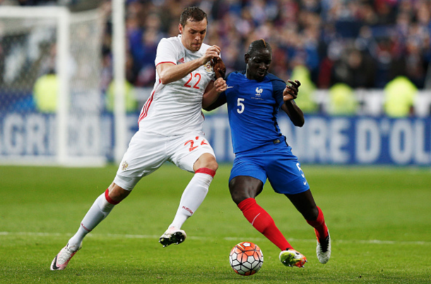 Sakho, battling to prove he should be in the France squad this summer, against Russia. (Picture: Getty Images)
